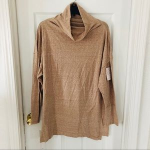 NWT FREE PEOPLE tan oversized turtleneck size S